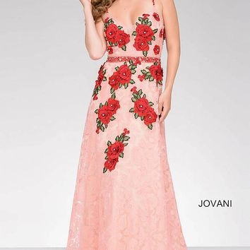 Peach and Red Lace Embroidered A-Line Prom Dress 48489