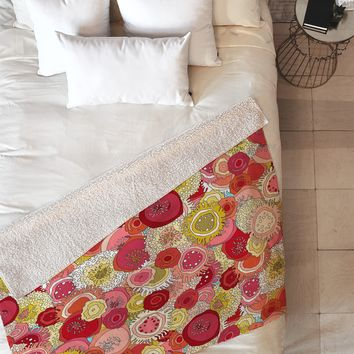 Sharon Turner Coral Garden Fleece Throw Blanket