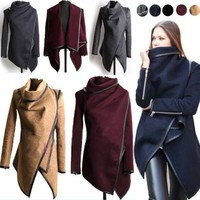 2015 Hot Women Zipper PU Warm Long Coat Jacket Trench Windbreaker Parka Outwear