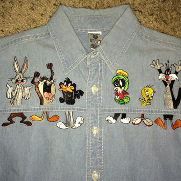 Sale!! Vintage WARNER BROS 1996 denim button down Tweety Tazmania Shirt