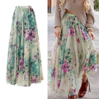 New Women's Boho Floral Long Maxi Skirt
