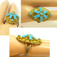 Vintage Glass Turquoise Ring, Adjustable Size 6 Half, Gold Filigree, Opaque Rhinestone Baguettes, Repurpose Upcycle