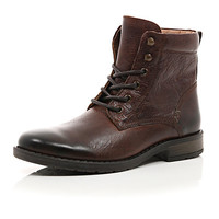 River Island MensBrown nubuck military boots