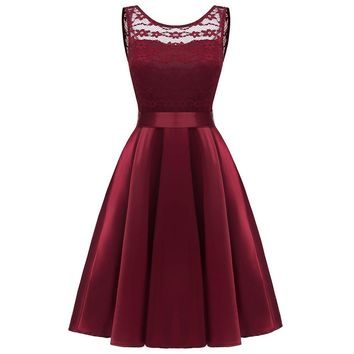 Off Shoulder Sexy Vintage Style Formal Dress Women Elegant Floral Lace Midi Dress Navy Slim Swing Dresses