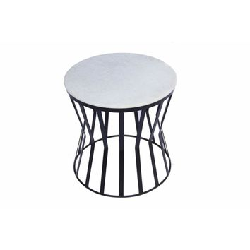 Elegant Iron Base Side Table With Marble Top, White