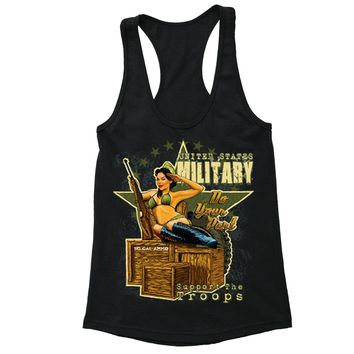 XtraFly Apparel Women's Military Support the Troops 2nd Amendment Racer-back Tank-Top