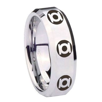 10MM Beveled Multiple Green Lantern Mirror Beveled Edges Silver Tungsten Carbide Ring