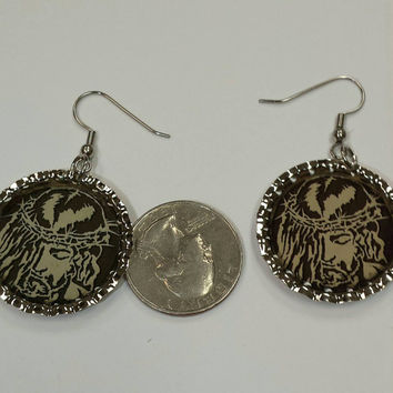 Jesus crown of thorns bottle cap earrings made from vintage magazine images, only set available.