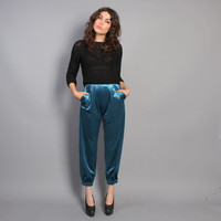 80s High Waist HAREM PANTS / Turquoise VELVET Crop Trousers, s