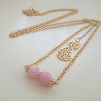 Long Gold Chain Necklace with Cat Pendant and Rose Quartz Bar/Gold Y Necklace/ Gold Bar Necklace/ Gold Lariat Necklace/ Statement/ Women/Her