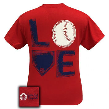 Girlie Girl Originals Preppy Love Baseball Sports T-Shirt