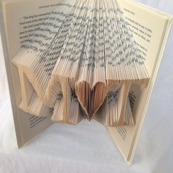 Customized Initials Folded Book Art - Anniversary Gift - Book Sculpture - Wedding Gift - Girlfriend - Wife - Husband - Boyfriend - Paper Art