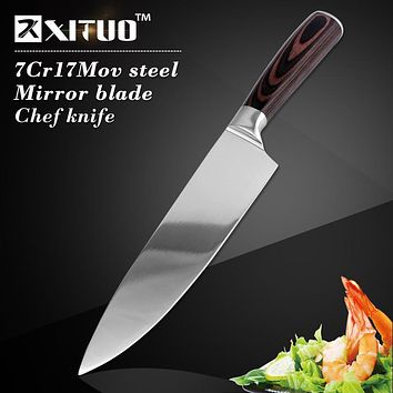 "XITUO Sharp multi japan kitchen knife 8""inch chef knife 7CR17Mov stainless steel Santoku knives meat cleaver kitchen accessories"