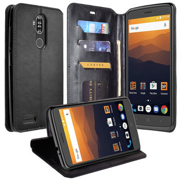 ZTE MAX XL, BLADE 3, ZMAX PRO 2, Pu Leather Magnetic Fold[Kickstand] Wallet Case with ID & Card Slots - Black