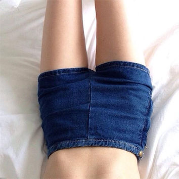 High Waist Denim Plus Size Women's Fashion Summer Slim Shorts [6328868865]