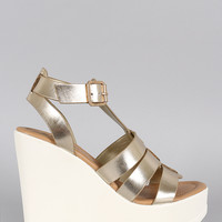 Soda Metallic Strappy Lug Sole Platform Wedge