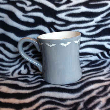 Diner Mug grey bats batty coffee cup mug handmade hand made ohio usa pottery ceramics tattoo