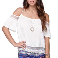 LA Hearts Cold Shoulder Swing Top - Womens Tee -