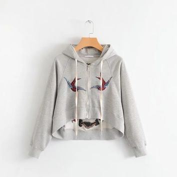 Embroidery Cropped Zipped Hoodie