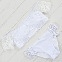 Lace Bathing Suit Bandage Swimsuit Padded Bikini Set