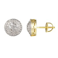 3D Circle Solitaire Iced Out Silver Stud Screw Back Earring