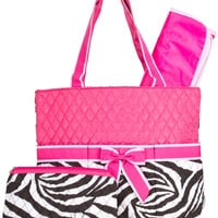 Zebra and Hot Pink Diaper Bag with Changing Pad   Zebra Diaper Tote  Animal Print Quilted Diaper Bag  Girl Diaper Bag  Changing Pad