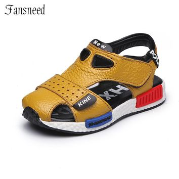 Genuine leather male child toe cap covering sandals child sandals cowhide children baby toddler shoes children shoes