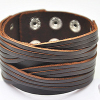 Real Brown Leather Bracelet Women's Leather Bangle Bracelet, Men's Leather Cuff Bracelet, Unisex Leather Bracelet  SZ0063
