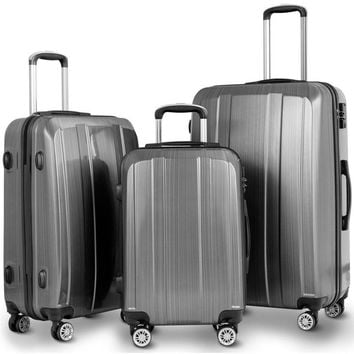 3 Piece Suitcase Set Carry on Luggage with Spinner Wheels Travel Luggage w/ TSA Lock 20 24 28 inch Women Men Travel Luggage