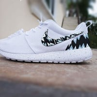 Custom Nike Roshe Run shoes, White with grey and black aztec design, triangles, grey white and black abstract design, womens shoes,