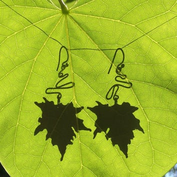 sterling and silk dangle earrings, blue silk fabric, silver wire, sugar maple leaf, assymetrical and one of a kind pieces, leaves!