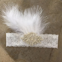 Feather Diamond Shape Rhinestone Headband Photography