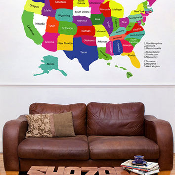 kcik1295 Full Color Wall decal Card USA All States living room children