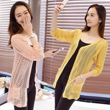 2017 spring summer new women silk cotton medium-long crocheted thin cardigan sweater air conditioning cape sun protection