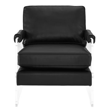 Serena Black Vegan Leather/Lucite Chair