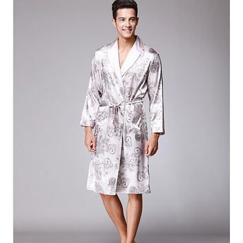 Soft Anti real silk Nightdress Robes for men Spring Autumn Style Nightdress Bath Robe Bathrobe Sleepwear Long sleeve Nightgowns