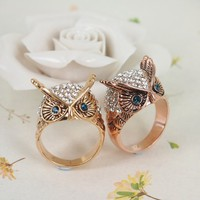 High Quality Fashion Alloy Costume Jewellery Ring For Women Blue Eye Owl with Rhinestone Ring US 7 Rose Golden
