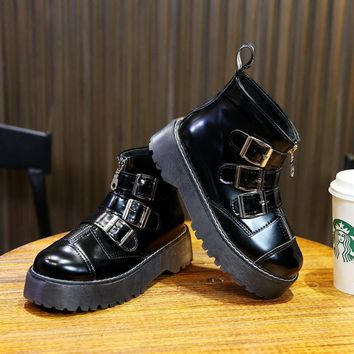 Gothic Punk Retro Platform Motorcycle Ankle with Multi Buckle Zip Shoes