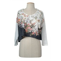 Floral Print Lace Crochet Back Cropped V-Neck Poncho Light Mesh Knit Sweater