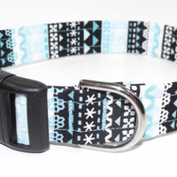 Christmas Blue Frost Snowflake Dog Collar