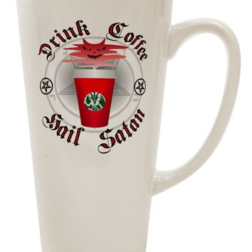 Red Cup Drink Coffee Hail Satan 16 Ounce Conical Latte Coffee Mug by TooLoud