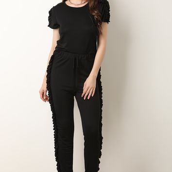 Ruffle Trim Top With Jogger Pants