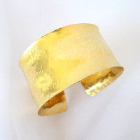 Textured gold cuff, hand hammered brass cuff, modern metal jewelry