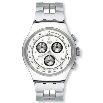 Swatch YOS401G Men's Wealthy Star Stainless Steel Silver Dial Chronograph Watch