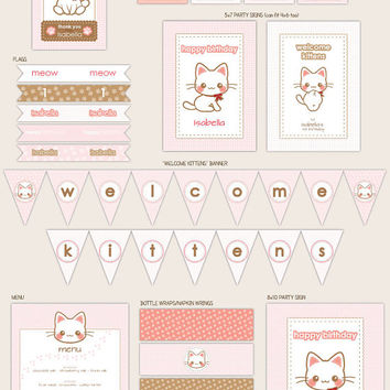 Kitty Cat Kitten - Custom Party Décor Suite - Printable Party Supplies by Paperholic