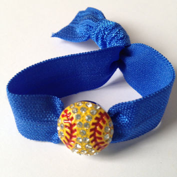 1 Softball Elastic Hair Tie - Bracelet Rhinestone Softball Charm -  Ponytail Holder - by Elastic Hair Bandz