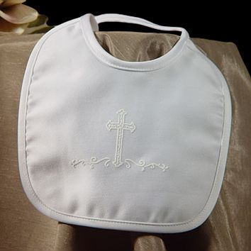 Screened Cross on Matte Satin Small Handmade Christening Bib (Infant Boys)