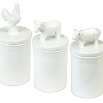 6 Animal Canisters - Pig, Cow And Rooster