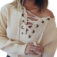 Warm Casual Lace Up Sweater