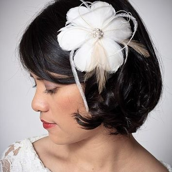 DOLCE - feather bridal hair clip Fascinator with rhinestone accent and matching birdcage veil - custom made to order